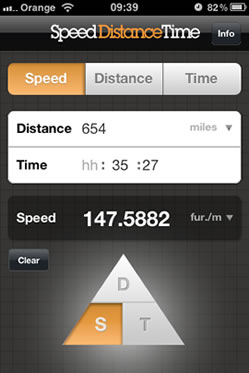 Speed Distance Time Calculator - iPhone App Screenshot 1